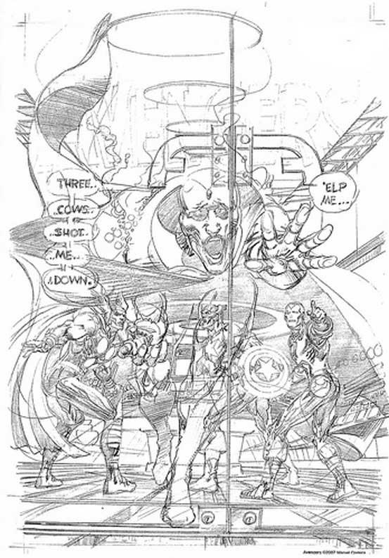 Erstens: Der Entwurf wurde von Neal Adams als Bleistiftzeichnung angefertigt. Ist diese fertig, wendet sich der Bleistiftzeichner den nächsten Seiten zu und übergibt die Seite dem Tuscher. Oft arbeiten Vorzeichner und Tuscher in Studios zusammen.