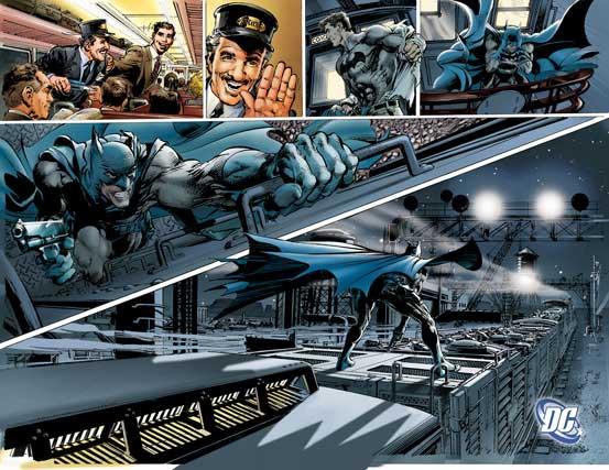 """Die Farben haben Adams' """"Continuity Studios"""" angelegt. Sie dienen wie man sieht bei Comics dazu, die Bilder klarer zu strukturieren und so schneller wahrnehmbar zu machen. Hier sind sie zudem wichig dafür, eine düstere Stimmung zu erzeugen."""