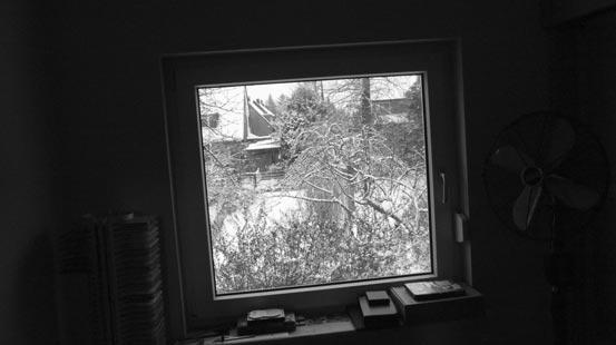 Blick aus dem Zimmerfenster in die winterliche Landschaft.