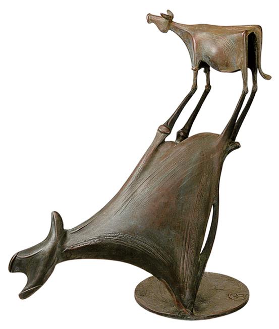 Ziselierte und patinierte Skulptur.