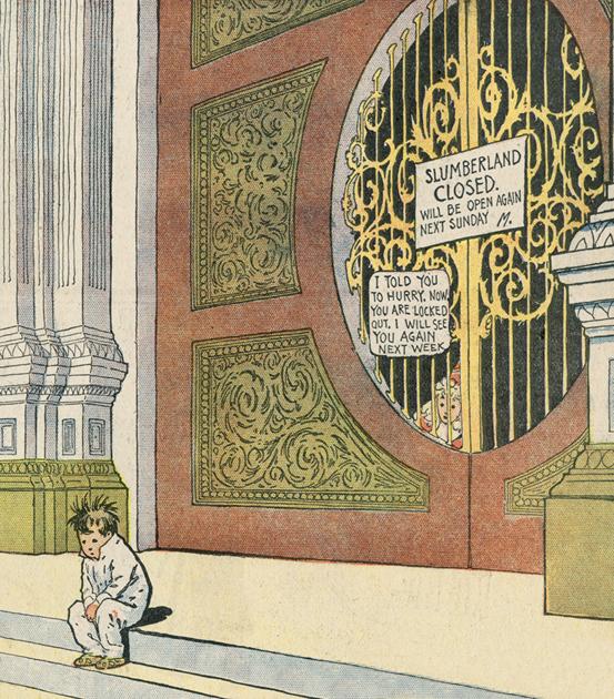 Architektonische Elemente, geprägt von der Weltausstellung, waren ein weiteres wichtiges Element in den Zeichnungen McCays.