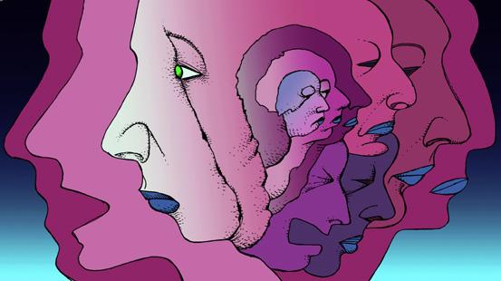Violette Gesichter