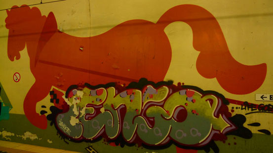 Pferdeillustration mit Graffiti