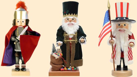 Sammlerstücke und Spielzeugfiguren als dekorative Nussknacker