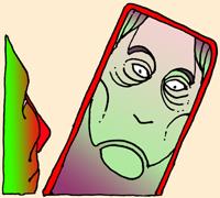 Frau im Spiegel.