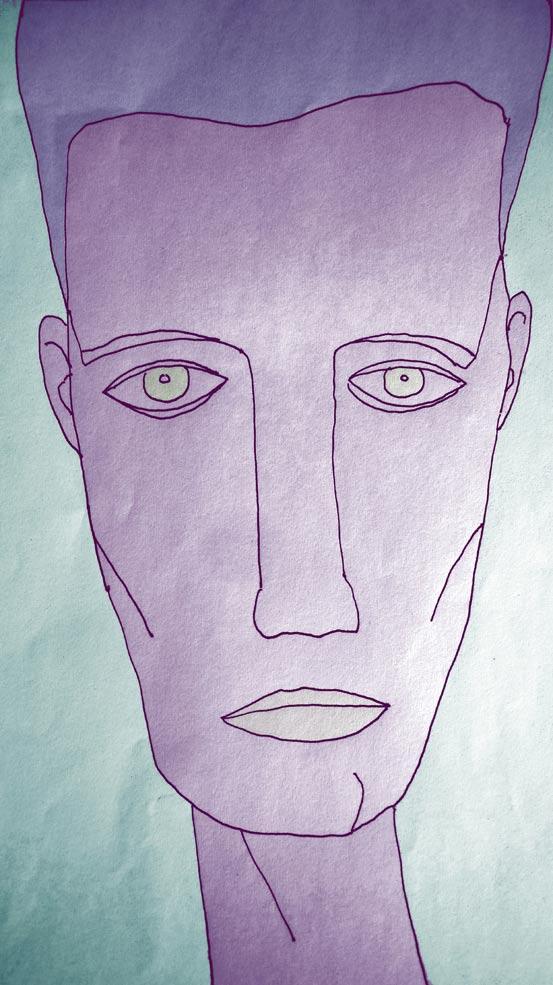 Blaues Gesicht.