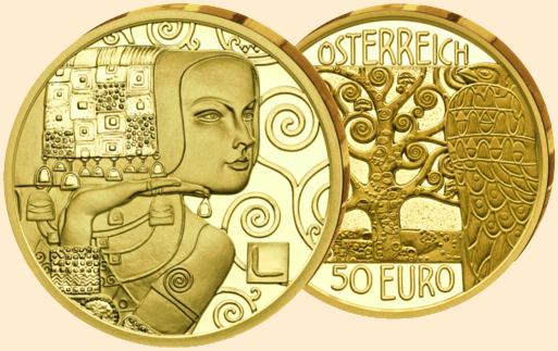 Gustav-Klimt Kunst auf der Münze
