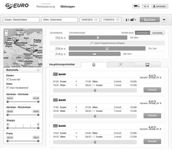 Screenshot Routenplaner