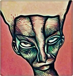 Geneigter Frauenkopf im Halbrund