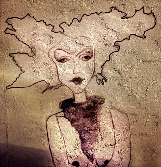 Frau mit ausladender Frisur